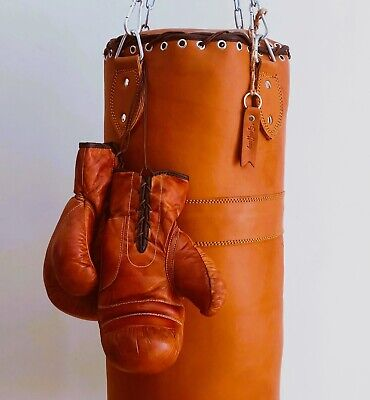Vintage | Tan Leather Boxing Gym Training Punch Bag & Boxing Gloves - Retro