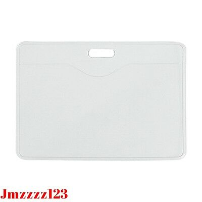 100 PCs Clear Plastic Horizontal Name Tag ID Card Holder ***AUSSIE SELLER***