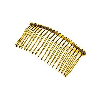 Pack Of 5 x Golden Plated Iron 38mm x 77mm Hair Combs HA06310