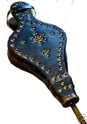 MOROCCAN MOROCCO METAL LEATHER & WOOD FIRE BELLOWS bellow 546 cosmetic scuffs