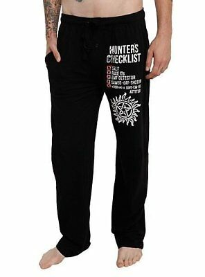 Mens Womens NEW Supernatural Hunter's Checklist Black Pajama Lounge Pants XS-2XL