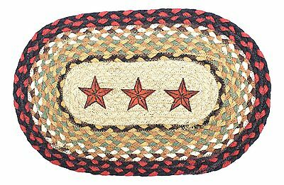 BARN STARS 100% Natural Braided Jute Oval Swatch Trivet/Placemat, by Earth Rugs