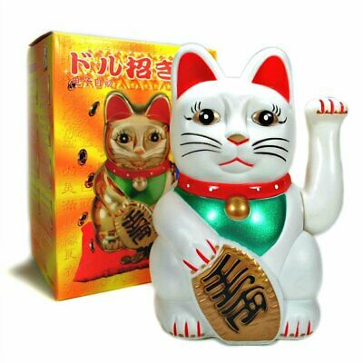 "LUCKY BECKONING CAT 5"" White Wealth Waving Maneki Neko Feng Shui Japanese"