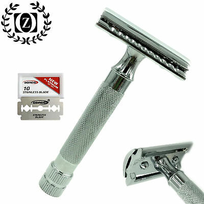 New Deluxe Double Edge Safety Razor Made Of Stainless Steel + 10 Free Blades