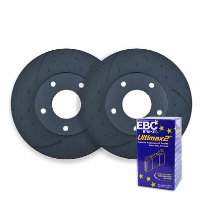 DIMPLED SLOTTED FRONT DISC BRAKE ROTORS + PREMIUM PADS for Volkswagen AMAROK 4WD