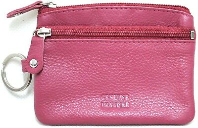 Quality Full Grain Cow Hide Leather Coin Purse with Key Ring. PINK. Style: 12034