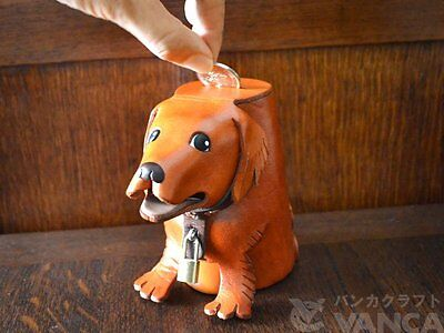 Golden Retriever Leather Dog Saving/Piggy Bank/Box *VANCA* Made in Japan