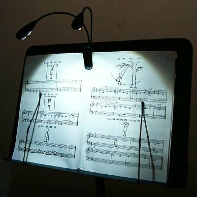 Black Clip-on 2 Dual Arms 4 LED Flexible Book Music Stand Light Lamp 40MV