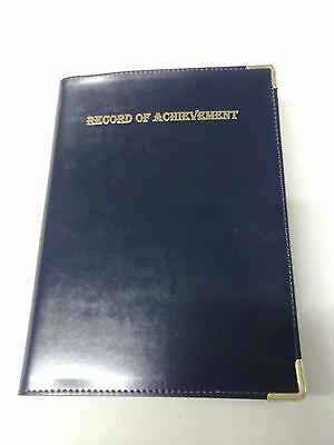 A4 PU BLUE record of achievement folders WITH TWO GUILT CORNERS PLUS POCKETS