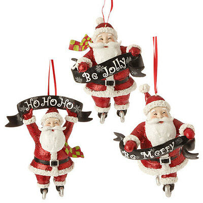 "RAZ Imports Large 5.5"" Santa With Banner Ornaments Set/3 Christmas NEW!"