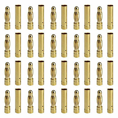 20 Pairs 4mm Gold Bullet Connectors Banana Plugs 20 Male + 20 Female RC 20x