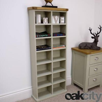 Painted Oak Tall Double DVD CD Unit - Sage / Grey Storage Tower - ASPEN