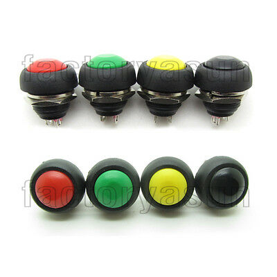 Waterproof Momentary Push Button Switch Doorbell Red Green Yellow Black 12mm