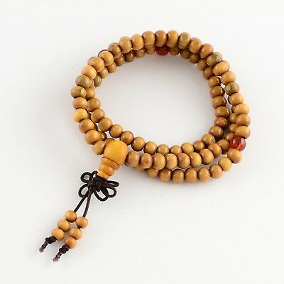 Brown Sandalwood Rosary 8mm 108 Beads Mala Bracelet with Red Spacers(R281-49)