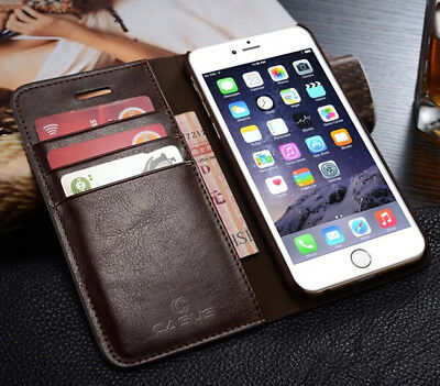 Genuine Leather Wallet Card Holder Flip Stand Case iPhone X & 8/7/6 Plus Samsung