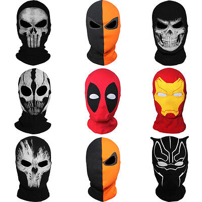 Marvel Black Panther Deadpool Crossbones Iron Man Balaclava Ghost Full Face Mask