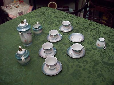 15 Vintage Japanese Lithophane Tea Set Complete Made In  Japan Mint No Reserve