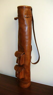 Geoffrey | VINTAGE TAN LEATHER GOLF CLUB CARRYING BAG with 2 POCKETS | RETRO