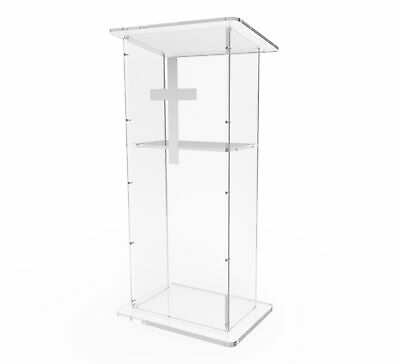 """Clear Acrylic Lucite Podium Pulpit Lectern 45"""" Tall"""