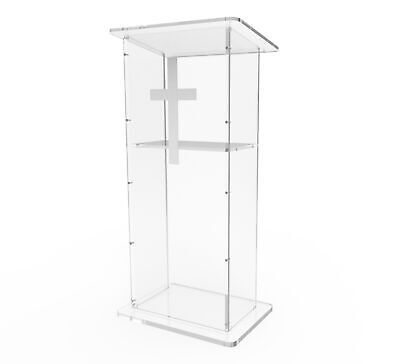 Plexiglass Clear Christian Lucite Church Pulpit Conference Lectern Cross Podium