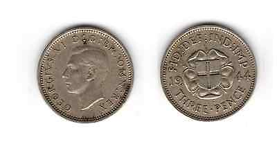 1944 3d Silver THREE PENCE threepence thrupence George VI