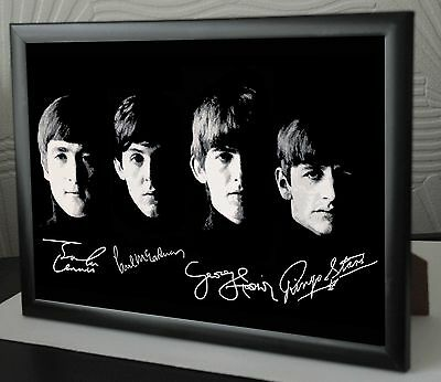 THE BEATLES Rare Framed CanvasTribute John Paul George Ringo Signed ...