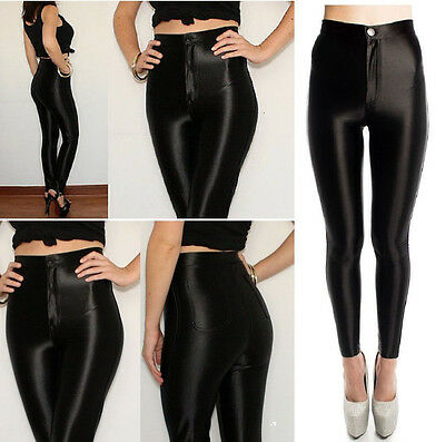 Womens Ladies American Style High Waist Shiny Disco Pants Uk Sizes 6,8,10,12,14