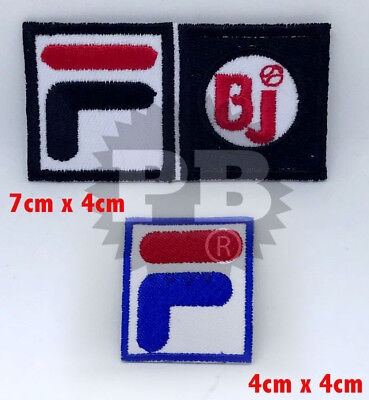 #277/106 FiLA F BJ Pro Sports Logo Iron Sew-on Embroidered Patch Badge 2 pcs set