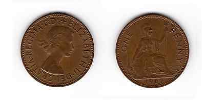 1967 QUEEN ELIZABETH II ONE PENNY 1d - COIN (a)