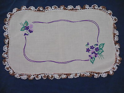Hand Worked Embroidered  Table Centre Doily 46 Cm Long Violets