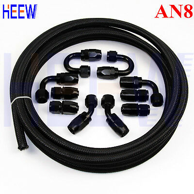 AN8 -8AN Nylon Steel Braided OIL FUEL Line + Fitting Hose End Adaptor KIT Black