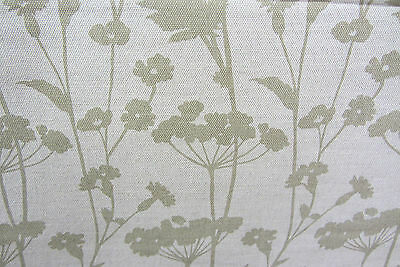 Meadow  Linen Olive Green Floral  140 cm wide Curtain/upholstery/Craft Fabric