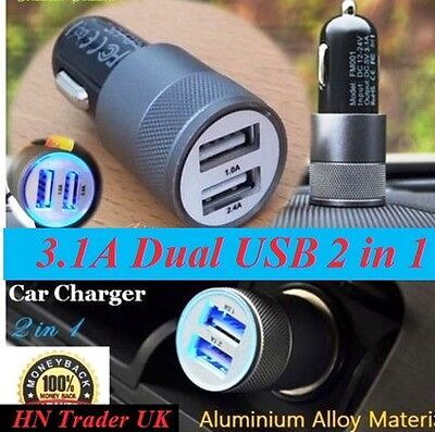3.1A Double USB Car Charger Alloy Universal Fast Charging For Samsung Galaxy S5