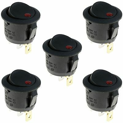5 x Red LED On/Off Round Rocker Switch Lighted Car Dashboard Dash 12V