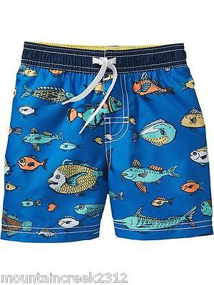 OLD NAVY Boys Swimsuit Size 2T FISH Print Bathing Trunks Blue Toddler UPF 50 NEW
