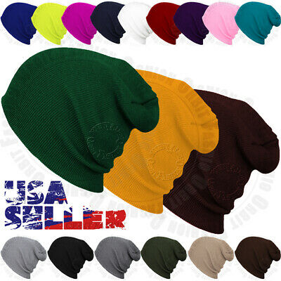 Plain Beanie Knit Hat Mens Women's Winter Warm Cap Slouchy Solid Skull Ski Hat