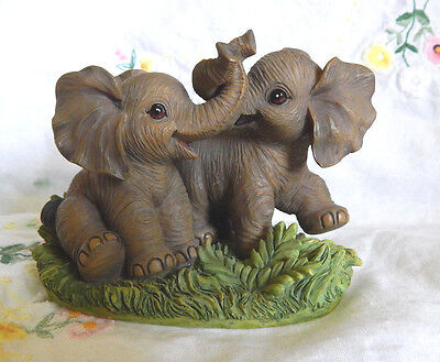 African Elephants At Play Figurine Endangered Young'uns