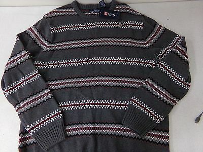 Mens Size XL Chaps Black Winter Sweater w// Red /& Gray Lodge Design NEW MSRP $90