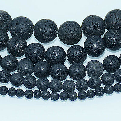 4mm 6mm 8mm 10mm 12mm Natural Black Volcanic Lava Gemstone Round Beads 16''