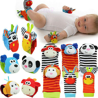 Multi Style Soft Toy Animal Baby Infant Kids Hand Wrist Bells Foot Sock Rattles