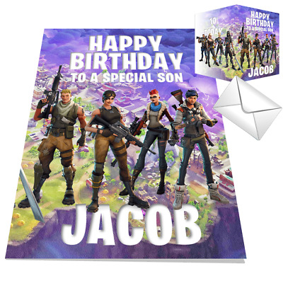 Fortnite Birthday Card Personalised Battle Any NAME Any AGE Any RELATION 14x21xm