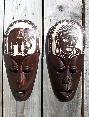 FairTrade Indonesian Hand Carved Made Wooden Wood Tribal Ethnic Lombok Mask 30cm