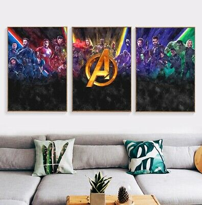 Marvel Avengers Watercolour Wall Poster Print Infinity Endgame Hulk Iron