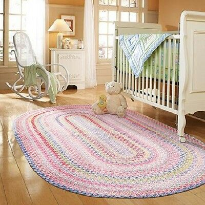 NEW!! Braided Cotton Blend Woven Area Rug Nursery Room Baby Crib Pink Multi 3x5
