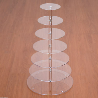 HOMCOM 7 Tier Cupcake Stand Circle Acrylic Wedding Party Cake Stand Transparent