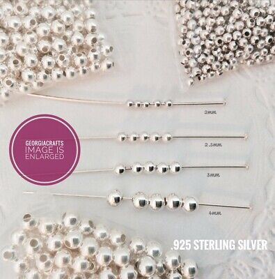 Sterling Silver .925 Seamless Round Beads - Choose Sz. 2mm - 4mm  - 20 PC. PACK