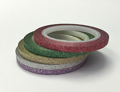 Washi Tape Thin 3Mm Glitter Set #b - Each Roll 3Mm X 5Mtr Craft Planner Wrap