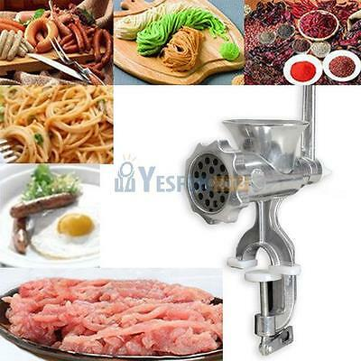 Cast Iron Manual Meat Grinder Mincer Table Hand Crank Tool Kitchen Heavy Duty #Y