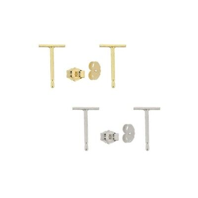 14k Real Solid Yellow and White Gold Stud T bar Earrings Tiny bar Push Backing