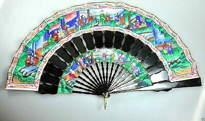 Antique China Chinese Handfan Brise Fan Mandarin Qing Gold 1000 Faces Lacquer
